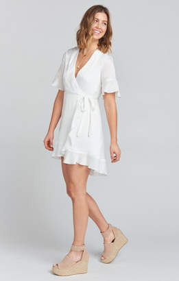MUMU Evelyn Mini Wrap Dress ~ White Sheen