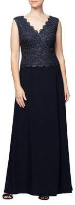 Alex Evenings Plus Lace A-Line Gown