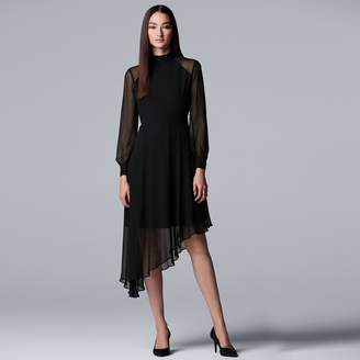 6b9468218f5 ... Vera Wang Women s Simply Vera Mockneck Asymmetrical-Hem Chiffon Dress