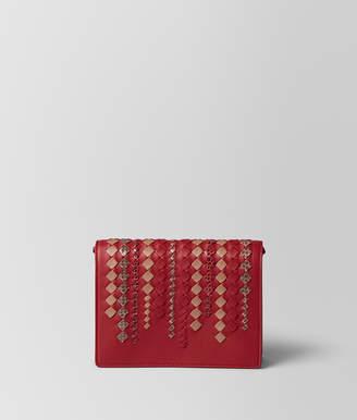 Bottega Veneta CHINA RED INTRECCIATO AYERS CHAIN WALLET