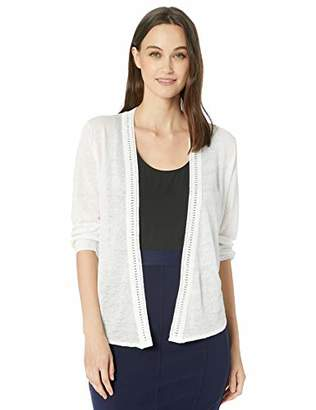 Nic+Zoe Women's Plus Size Crochet Trim Cardy