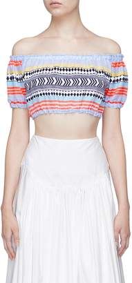 Lemlem 'Sofia' geometric stripe cropped off-shoulder top