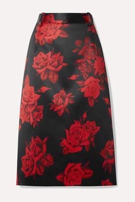 Commission - Kick Back Cabin Floral-print Satin Skirt - Red