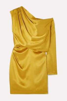 Mason by Michelle Mason One-shoulder Draped Silk-satin Mini Dress - Mustard
