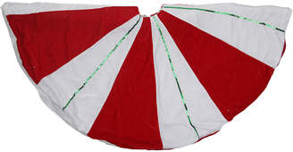 Northlight 48In Peppermint Twist Red & White With Green Sequined Stripes Christmas Tree Skirt
