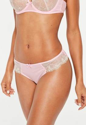 Missguided Pink Floral Lace Mesh Thong