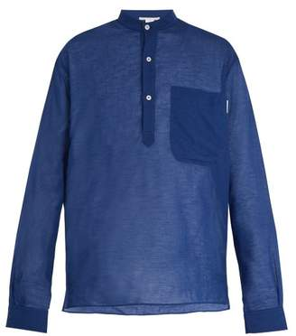 Stella Mccartney - Grandad Collar Cotton Blend Shirt - Mens - Blue