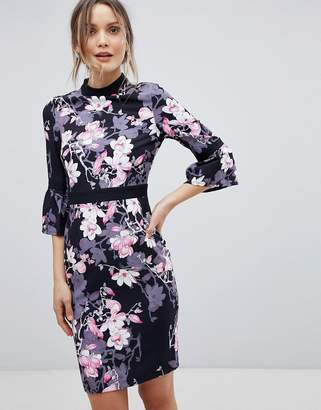 Paper Dolls Floral Flute Sleeve Dress