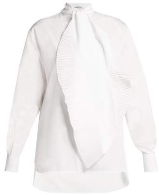 Givenchy Pleated Tie Cotton Shirt - Womens - White