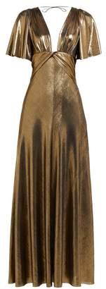 Maria Lucia Hohan Lilah Metallic Jersey Panelled Maxi Dress - Womens - Gold
