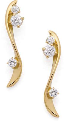 Classic Jewels K18YG ダイヤモンド ツイストカーブ ピアス イエローゴールド