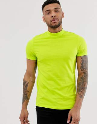 Design DESIGN organic t-shirt with turtle neck in bright green