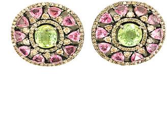 Arthur Marder Fine Jewelry Silver 7.42 Ct. Tw. Diamond & Pink Sapphire Earrings