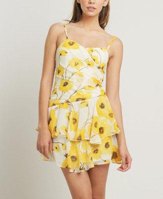 Marigold Chiffon Floral Dress