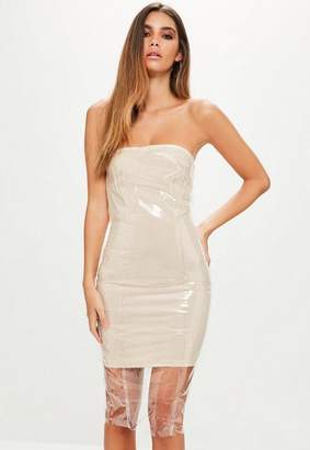 Missguided Nude Clear Vinyl Bandeau Bodycon Dress