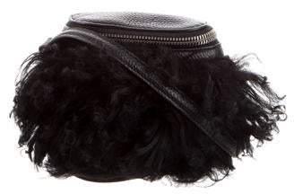 Kara Mongolian Lamb-Trimmed Leather Bag