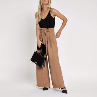 River Island Womens Petite Beige paperbag waist wide leg trousers