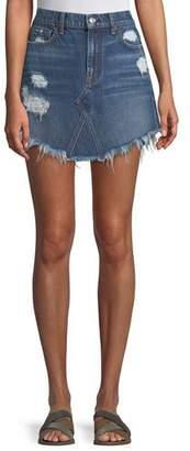 7 For All Mankind Distressed Denim A-Line Mini Skirt