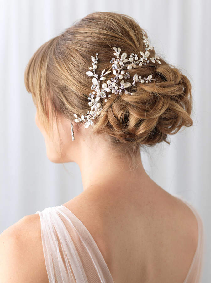 Etsy Floral Vine Bridal Clip, Rhinestone & Pearl Wedding Clip, Bridal Botanical Vine, Pearl Bridal Hair A
