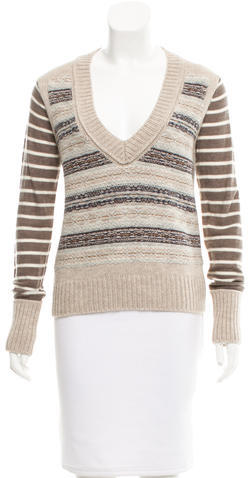 Tory BurchTory Burch Patterned V-Neck Sweater w/ Tags
