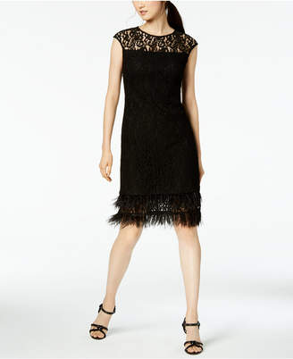 Calvin Klein Feather-Trimmed Lace Sheath Dress