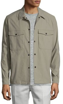 Theory Drato Button-Front Shirt Jacket, Sidewalk $275 thestylecure.com