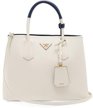 Prada Double Saffiano Leather Bag - Womens - White Navy 8c950e7e9b7a1