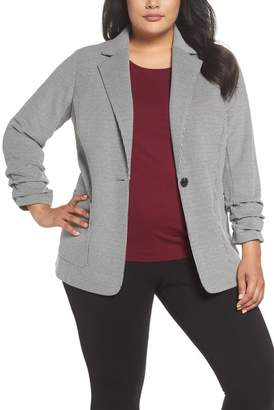 Vince Camuto Ruched Sleeve Mini Houndstooth Jacket (Plus Size)