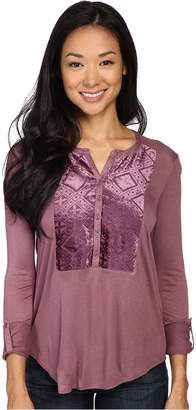 Lucky Brand Women's Burnout Velvet Bib Top