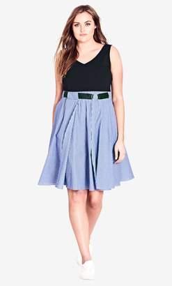 City Chic Blue Shirt Play Dress Size 14/X-Small