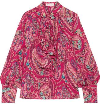 Etro - Ruffled Printed Silk Crepe De Chine Blouse - Magenta $1,000 thestylecure.com