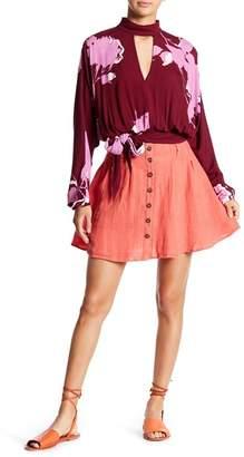 Free People Dazy Away Linen Mini Skirt