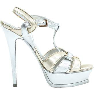 6811336dfa5 Saint Laurent Tribute Silver Leather Sandals