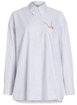 Victoria Beckham Women's Stripe Logo Stitch Oxford Button-Down Shirt - Navy White - Size 3 (Medium)