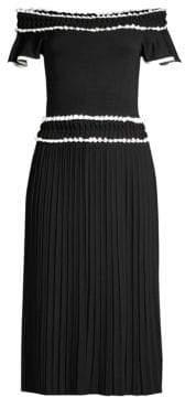 Shoshanna Meridian Pleated Midi Dress