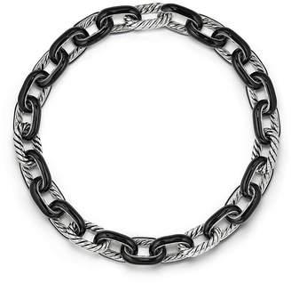 David Yurman Madison Chain Enamel Necklace in Black
