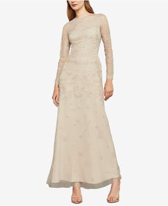 BCBGMAXAZRIA Metallic Embroidered Gown