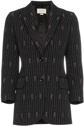 Gucci pin stripe logo embroidered wool silk-blend blazer