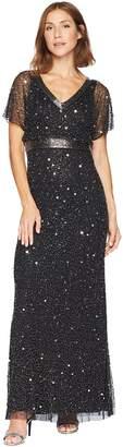 Adrianna Papell Flutter Sleeve Beaded V-Neck Gown Women's Dress
