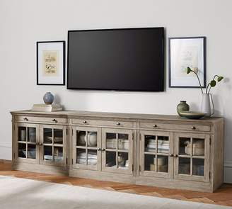 Pottery Barn Livingston Large TV Stand With Glass Doors