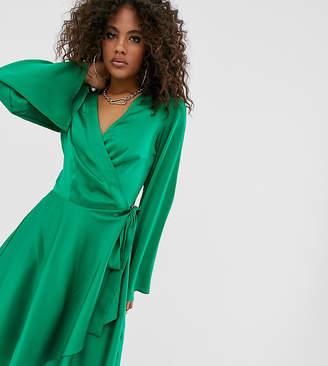 Missguided Tall satin wrap mini dress in green