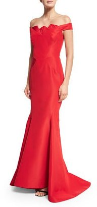 Zac Posen Pleated Off-the-Shoulder Mermaid Gown, Dark Red $5,990 thestylecure.com