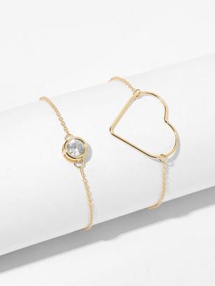 Shein Hollow Heart Detail Link Bracelet 2pcs