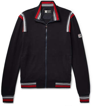 Ermenegildo Zegna Stripe-Trimmed Loopback TECHMERINO Wool-Jersey Track Jacket - Men - Navy