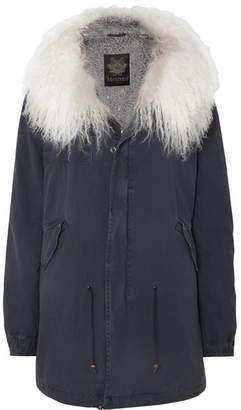 Mr & Mrs Italy Hooded Shearling-lined Cotton-canvas Parka - Blue