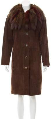Fur Sable-Trimmed Suede Coat