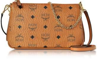 MCM Millie Visetos Cognac Medium Zip Crossbody Bag