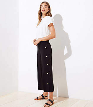 LOFT Wide Leg Crop Pants in Side Button