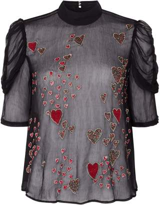 Free People So In Love Heart Embroidered Sheer Blouse