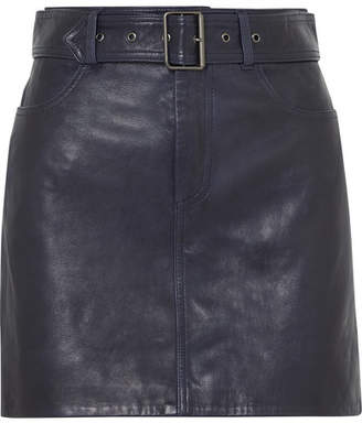 Victoria Victoria Beckham Victoria, Victoria Beckham - Belted Leather Mini Skirt - Midnight blue